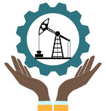 Silhouette of oil pump. In hands on a white background royalty free illustration