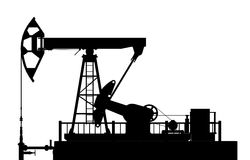 Silhouette of the oil pump Royalty Free Stock Images