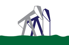Silhouette of oil pumps Stock Photos