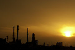 Silhouette Oil Refinery Royalty Free Stock Image
