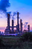 Silhouette oil refinery plant at twilight morning Royalty Free Stock Photos