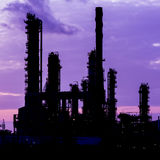 Silhouette of oil refinery plant Royalty Free Stock Photography