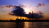 Silhouette of oil refinery Stock Image