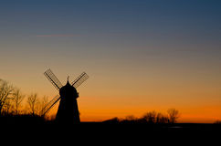 Silhouette of Oland, Sweden. Silhouette of a windmill in the island Oland in Sweden Stock Image