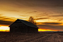 Silhouette Of An Old Barn House Royalty Free Stock Photography