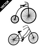 Silhouette of an old bicycles Stock Photo
