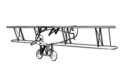 Silhouette of old biplane. Engraving. Vector illustration Royalty Free Stock Photos