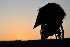 Silhouette of old carriage horse cart. At sunset Royalty Free Stock Image