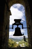 Silhouette of old church bell in Ainsa, Huesca, Spain in Pyrenees Mountains, an old walled town with hilltop views of Cinca and Ar Stock Photo
