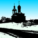 Silhouette of the old church. Vector illustration Stock Images