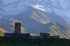 Silhouette of an old church in the village of Ushguli Royalty Free Stock Images