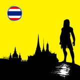 Silhouette Old City Thailand. With yellow background Stock Photography