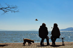 Silhouette of old couple sitting on bench before ocean. Silhouette of a heterosexual couple enjoying the afternoon on a calm and peaceful relaxing in front of Royalty Free Stock Photo