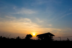 Silhouette , Old House and tree with sunset. And blue sky royalty free stock photo