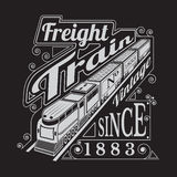 Silhouette of old locomotive with wagons and lettering Royalty Free Stock Photos