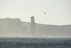 Silhouette of the Old Man of Hoy. Stock Photos