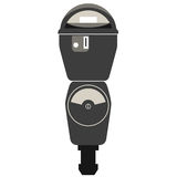 Silhouette of old parking meter Stock Images