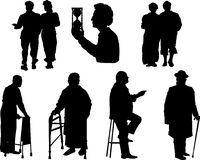 Silhouette of old people. Stock Photography