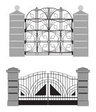 Silhouette of old street gates Stock Photography