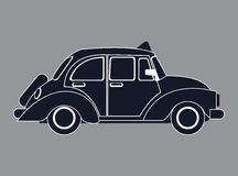 Silhouette old taxi car side view. Vector illustration eps 10 Stock Photo