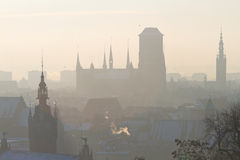 Silhouette of old town in Gdansk. At frosty winter Royalty Free Stock Images
