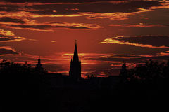 The Silhouette of the Old Town Sibiu Romania. In the evening light Stock Photos