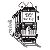 Silhouette of old tram with text happy tram trip city on white Stock Photos