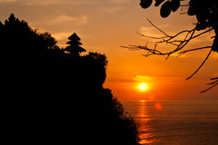 Silhouette Old Uluwatu Temple. Royalty Free Stock Image