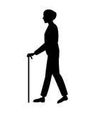 Silhouette older man walking stick Royalty Free Stock Photography