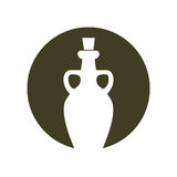 Silhouette olive bottle glass handles green background Royalty Free Stock Image