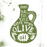 Silhouette of olive oil bottle with text design Stock Photography