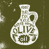 Silhouette of olive oil bottle with text design Royalty Free Stock Image