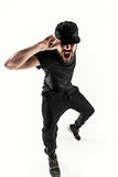 The silhouette of one hip hop male break dancer dancing on white background Royalty Free Stock Photography