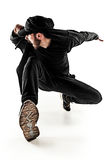 The silhouette of one hip hop male break dancer dancing on white background Royalty Free Stock Images