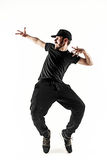 The silhouette of one hip hop male break dancer dancing on white background Stock Images