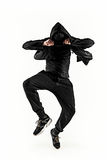 The silhouette of one hip hop male break dancer dancing on white background Royalty Free Stock Photos