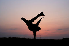 Silhouette of one man jumping Royalty Free Stock Photo