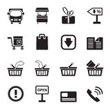 Silhouette Online shop icons Royalty Free Stock Image