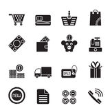 Silhouette Online shop icons Stock Photography