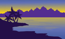 Silhouette oof beach and mountain Royalty Free Stock Photos