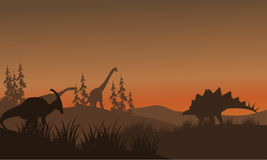 Silhouette oof many dinosaur in hills Stock Photos