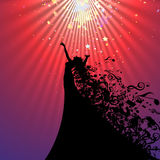 Silhouette of Opera Singer and Musical Symbols Stock Image