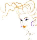 Silhouette orange de femme Image stock