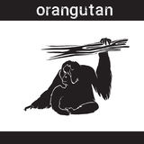 Silhouette Orangutan In Grunge Design Style Animal Icon Stock Photo