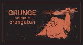 Silhouette Orangutan In Grunge Design Style Animal Icon Royalty Free Stock Image