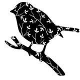 Silhouette originale de haute qualité d'un oiseau avec le modèle floral Photos libres de droits