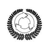 Silhouette ornament leaves with circular recycling symbol Royalty Free Stock Image