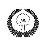 Silhouette ornament leaves with hand in shape of tree Stock Images