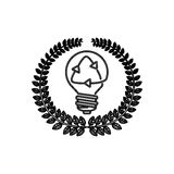 Silhouette ornament of leaves with light bulb and recycling symbol Royalty Free Stock Image