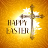 Silhouette of ornate cross. Happy Easter concept illustration or greeting card. Religious symbol of faith against sun. Lights Royalty Free Stock Photography